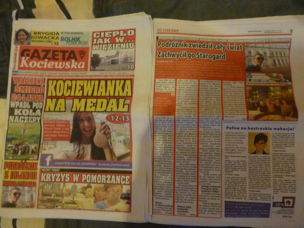 My feature in the Gazeta Kociewska, Starogard Gdanski, POLAND