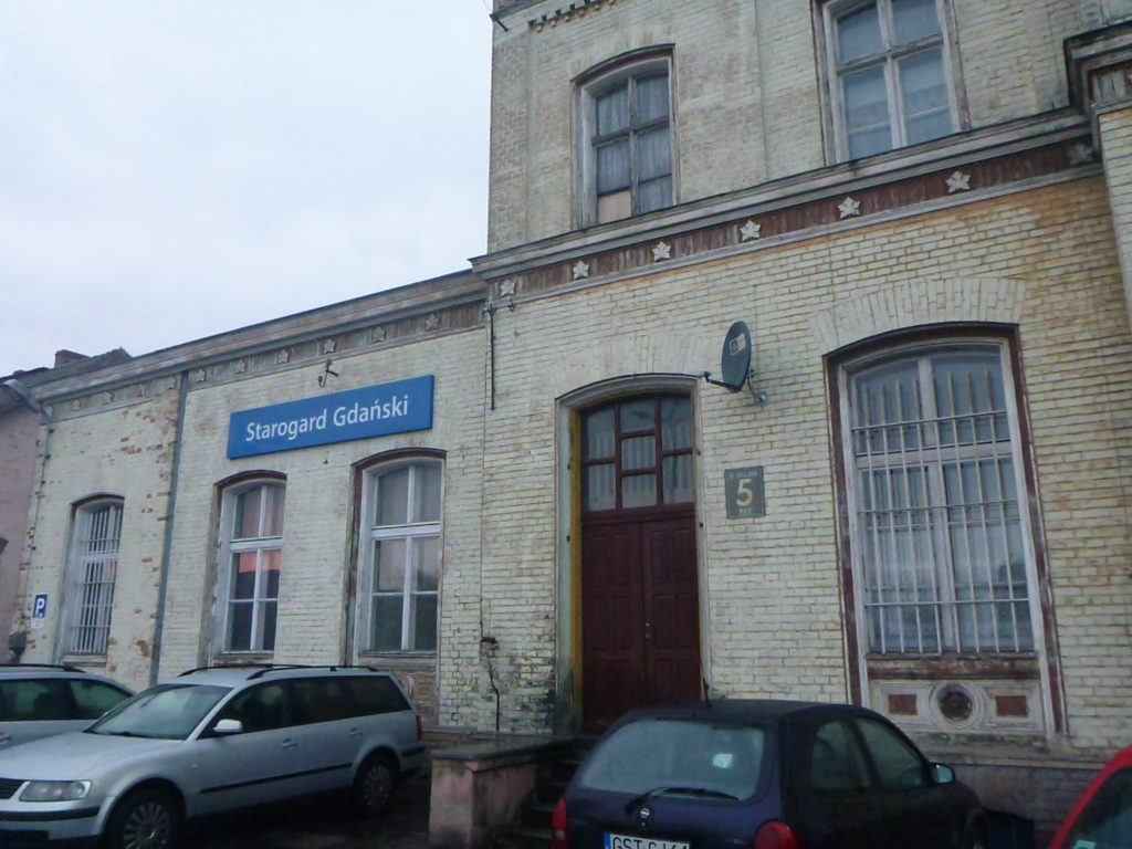 There is a train station in Starogard Gdanski but I arrived by bus on my first visit.