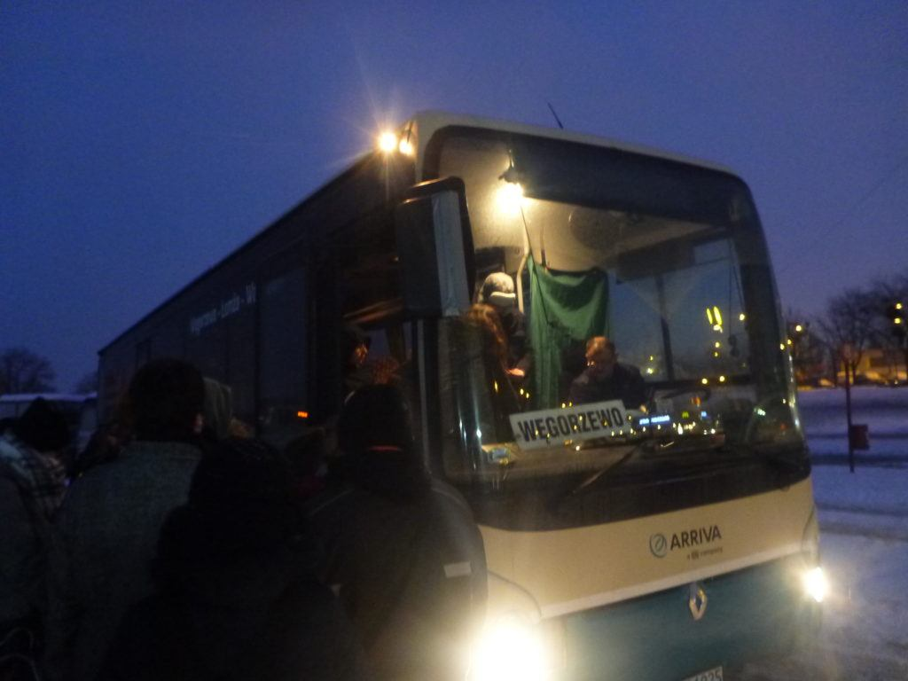 The bus to Biskupiec from Olsztyn