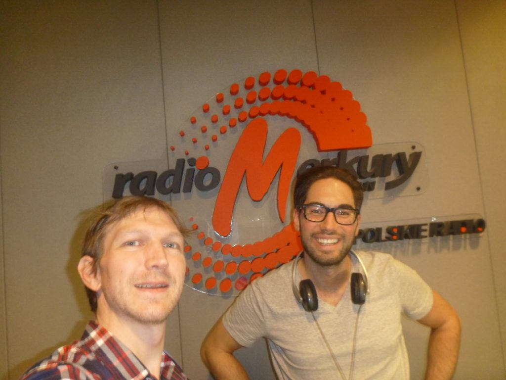 DJ Maciek and I at the Radio Merkury studio, International Poznań, January 2017