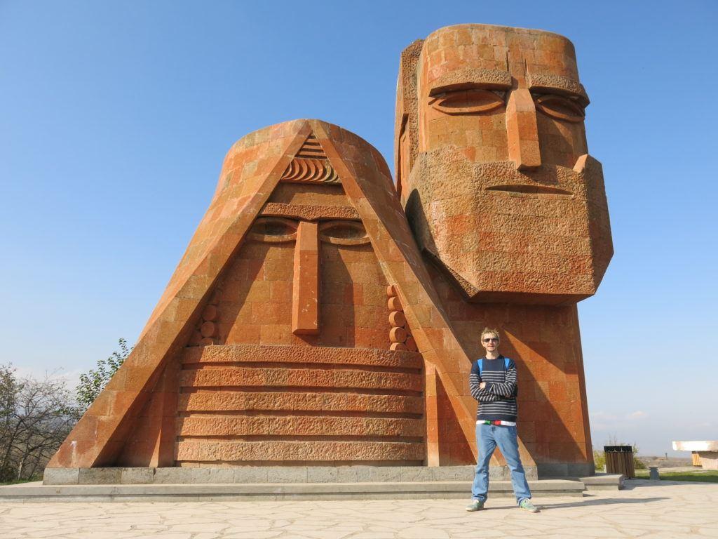 Jonny Blair posing by Papik Tatik in Stepanakert - Nagorno Karabakh