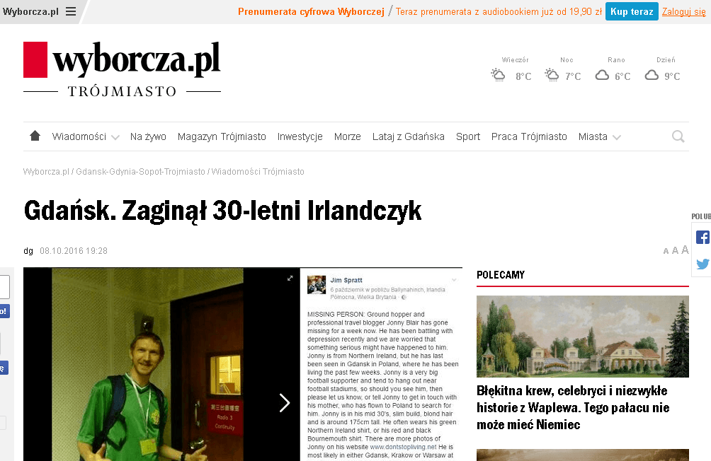 The time I was in the Gazeta Wyborcza in the wake of depression :-(