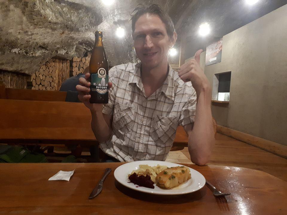 Drinking salty beer and munching pierogi n the UNESCO listed Bochnia Salt Mine