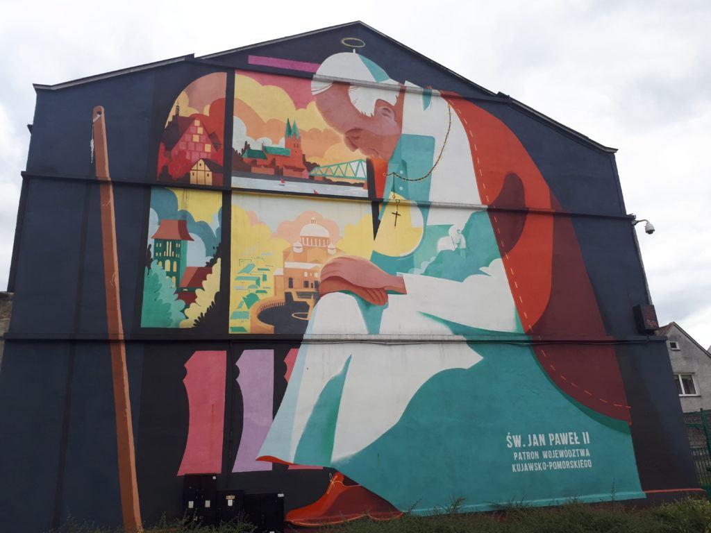 Pope Jan Paweł II Mural in Włocławek