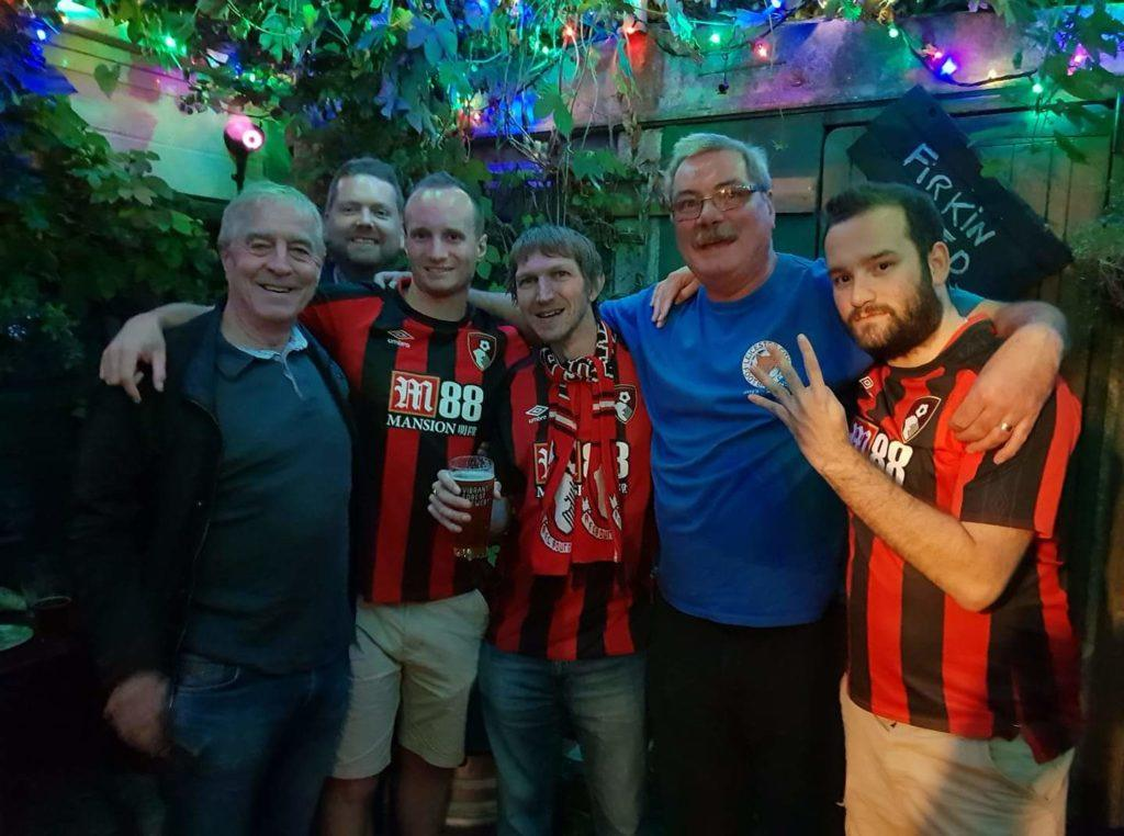 With my team's fans, AFC Bournemouth together with Leicester City FC fans