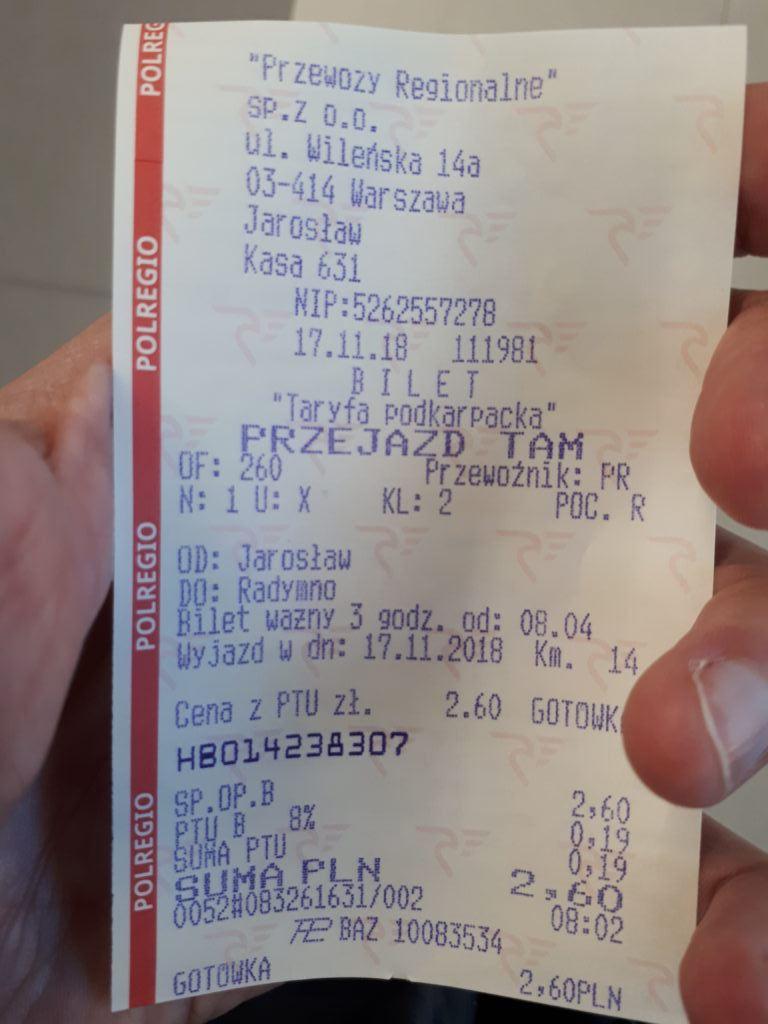 Train ticket from Jarosław to Radymno