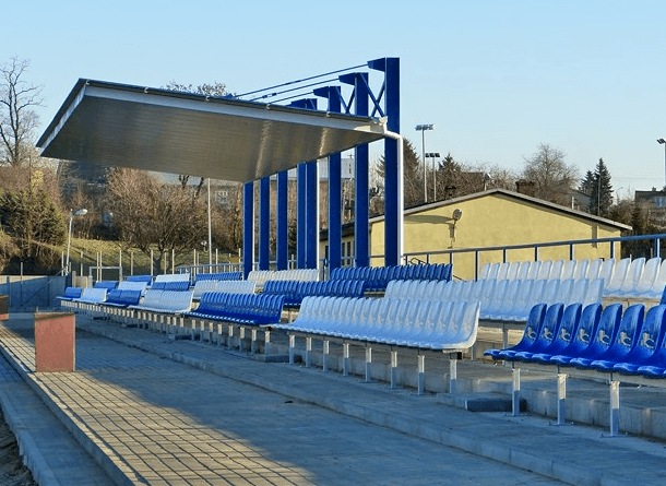 MKS Radymno's blue and white football stadium tourist ulsterczyk