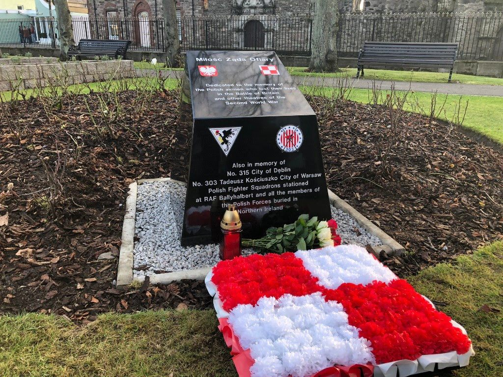 Memorial tribute to Polish soldiers from World War II in Northern Ireland following the service at Ballyhalbert