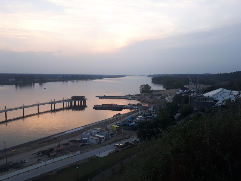 Sunset by the Wisła River in Płock, Poland