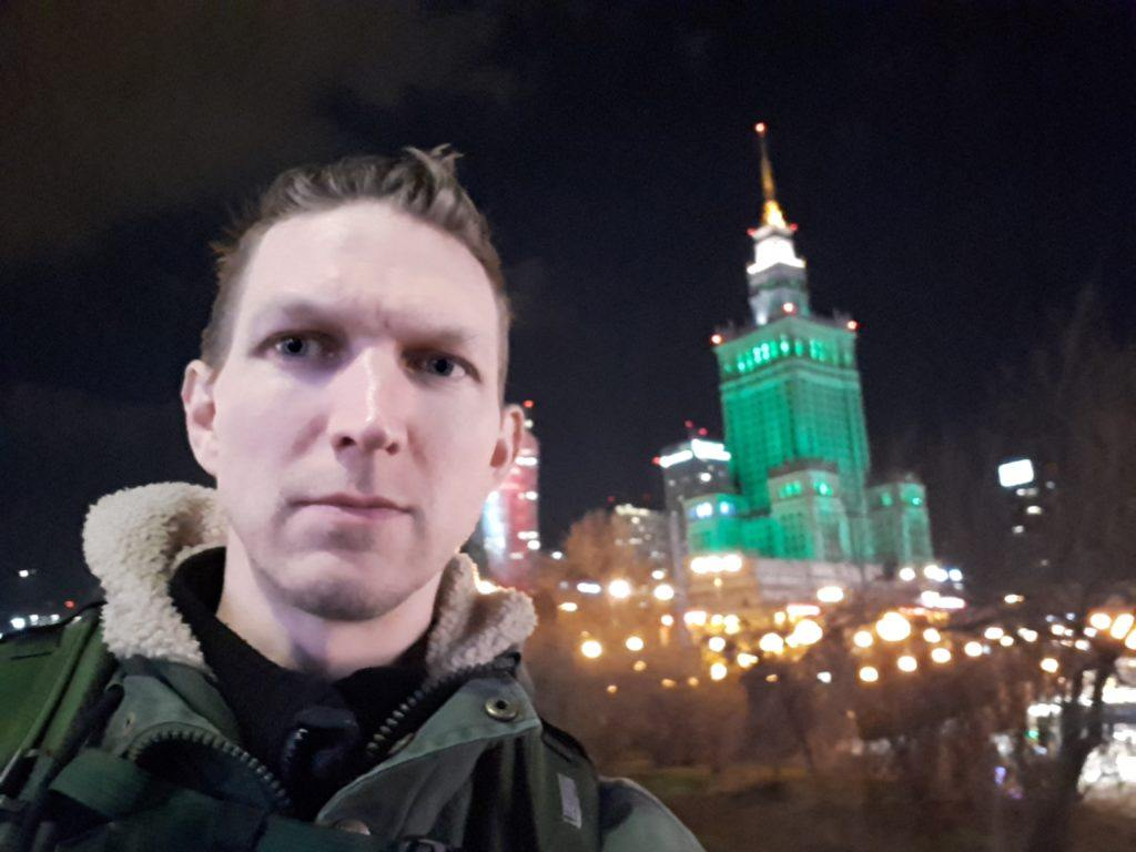 Touch of the Irish: Warszawa's famous Palace of Culture and Science all lit up on Saint Patrick's Day 2019