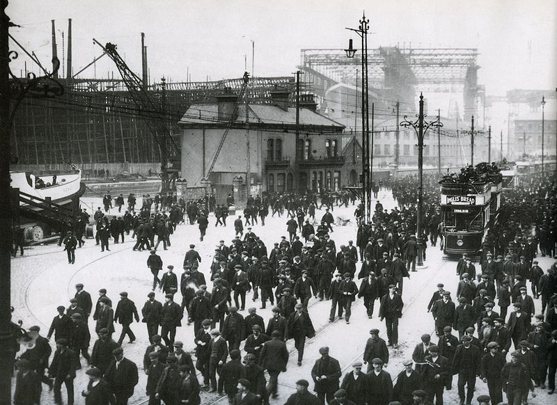 The Titanic being built in 1911 in Belfast city