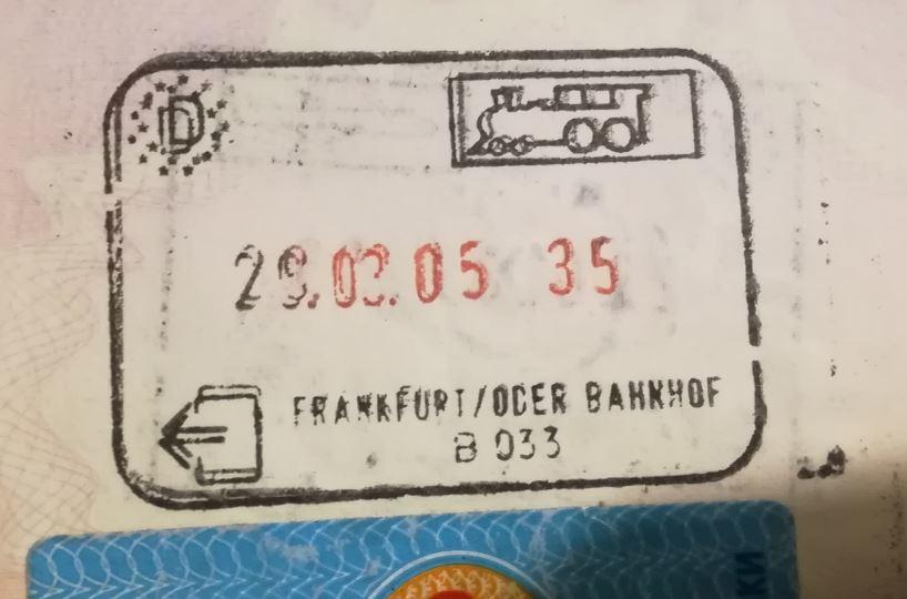 Passport stamp Berlin Warsaw train