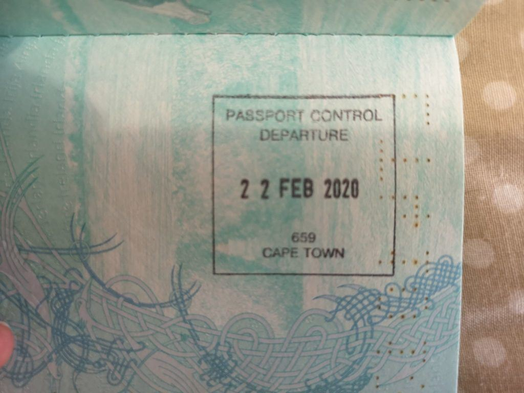 My last passport stamp for at least 12 months. In Cape Town, South Africa.